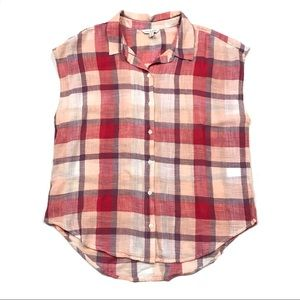 Lucky Brand Plaid Sleeveless Button Front Shirt